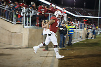 Stanford, CA - November 18, 2017: Devery Hamiliton enters the field for the second half of the Stanford vs California football game Saturday night at Stanford Stadium.<br /> <br /> The Stanford Cardinal defeated the California Golden Bears 17 to 14.