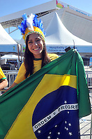 SAO PAULO - BRASIL -12-06-2014. Seguidores selección de fútbol de Brasil viven una fiesta previo al partido inaugural frente a Croacia en el estadio Arena de Sao Paulo de la Copa Mundial de la FIFA Brasil 2014./ Fans of Brazil National Soccer Team live a party, today 12 of June 2014, prior their inaugural match against Croatia at Arena Corinthians stadium the next Thursday 12 of June in the 2014 FIFA World Cup Brazil. Photo: VizzorImage / Alfredo Gutiérrez / Contribuidor