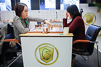 29th December 2019, Moscow, Russia;  Lei Tingjie L and Tan Zhongyi of China compete in the 9th round of the 2019 King Salman World Chess Rapid Women Championship in Moscow, Russia