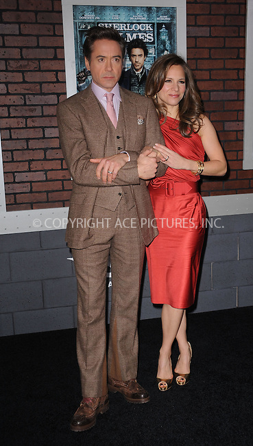 WWW.ACEPIXS.COM . . . . . ....December 17 2009, New York City....Actor Robert Downey Jr and his wife Susan Downey arriving at the New York premiere of 'Sherlock Holmes' at the Alice Tully Hall, Lincoln Center on December 17, 2009 in New York City.....Please byline: KRISTIN CALLAHAN - ACEPIXS.COM.. . . . . . ..Ace Pictures, Inc:  ..(212) 243-8787 or (646) 679 0430..e-mail: picturedesk@acepixs.com..web: http://www.acepixs.com