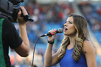 San Jose, CA - Saturday August 05, 2017: National anthem singer prior to a Major League Soccer (MLS) match between the San Jose Earthquakes and the Columbus Crew at Avaya Stadium.