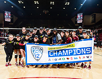 Stanford, California -November 9, 2018: The Stanford Cardinal women's volleyball team wins over Oregon State 3-0 at Maples Pavilion in Stanford, California.
