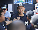 Masahiro Tanaka (Yankees),<br /> FEBRUARY 28, 2017 - MLB :<br /> New York Yankees starting pitcher Masahiro Tanaka gets a fist bump from his teammate in the dugout after the top of the second inning during a spring training baseball game against the Detroit Tigers at George M. Steinbrenner Field in Tampa, Florida, United States. (Photo by AFLO)