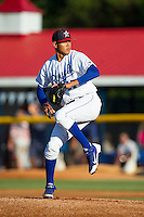 Burlington Royals starting pitcher Julio Pinto (47) in action against the Danville Braves at Burlington Athletic Park on July 5, 2014 in Burlington, North Carolina.  The Royals defeated the Braves 5-4.  (Brian Westerholt/Four Seam Images)