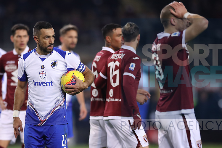 Fabio Quagliarella of Sampdoria holds the ball as he waits to take the penalty which would give the side a 3-1 lead during the Serie A match at Stadio Grande Torino, Turin. Picture date: 8th February 2020. Picture credit should read: Jonathan Moscrop/Sportimage