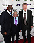 "Magic Johnson, David Stern & Larry Bird pictured at the ""Magic/Bird"" Opening Night Arrivals at the Longacre Theatre in New York City on April 11, 2012 © Walter McBride / WM Photography  Ltd."