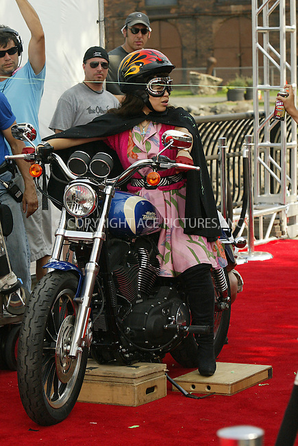 "WWW.ACEPIXS.COM . . . . .  ....July 8 2008, New York City....Actress America Ferrera was astride a Harley Davidson Motorbike on the set of season Three of the award winning show ""Ugly Betty' which was filming in Brooklyn on July 8 2008 in New York City....Please byline: AJ Sokalner - ACEPIXS.COM..... *** ***..Ace Pictures, Inc:  ..te: (646) 769 0430..e-mail: info@acepixs.com..web: http://www.acepixs.com"