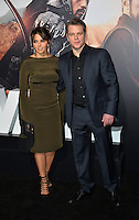 Matt Damon &amp; Luciana Barroso at the premiere for &quot;The Great Wall&quot; at the TCL Chinese Theatre, Hollywood, Los Angeles, USA 15 February  2017<br /> Picture: Paul Smith/Featureflash/SilverHub 0208 004 5359 sales@silverhubmedia.com