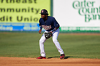 Elizabethton Twins shortstop Yeltsin Encarnacion (17) during a game against the Bristol Pirates on July 28, 2018 at Joe O'Brien Field in Elizabethton, Tennessee.  Elizabethton defeated Bristol 5-0.  (Mike Janes/Four Seam Images)