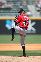Indianapolis Indians starting pitcher Casey Sadler (45) in action against the Charlotte Knights at BB&T BallPark on June 21, 2015 in Charlotte, North Carolina.  The Knights defeated the Indians 13-1.  (Brian Westerholt/Four Seam Images)