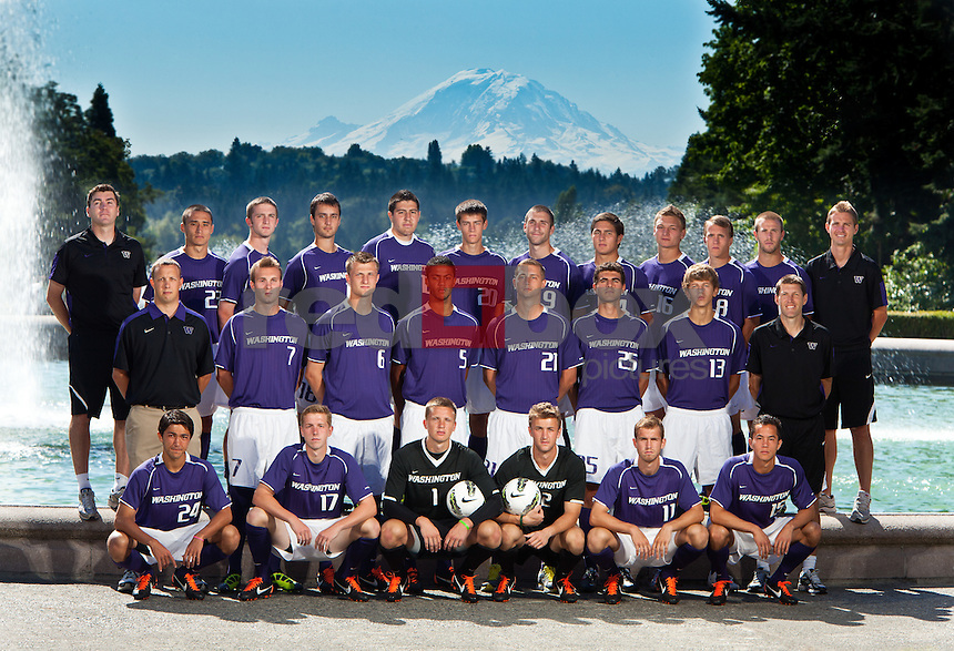The University of Washington Huskies men's soccer team photographed at UW campus with Mt. Rainier Wednesday, Aug. 17, 2011. 9-Quinton Beasley, 12 -Chris Brundage, 26- John Crenshaw, 23- Jamie Finch, 11- Ben Fisk, 17- Quinn Grisham, 19-Michael Harris, 8- Jacob Hustedt, 21-Nick James, 18-Alex Klein, 3-Ty Klein, 7-Casey McCool, 5-Taylor Peay, 25-Niccolo Piacentini, 22-Patric Pray, 2-Charlie Ranahan, 5-Brent Richards, 1-Spencer Richey, 13-Thomas Spragg, 20-Andy Thoma, 6-Dylan Tucker-Gangnes, 14-Michael Uyehara, 16-Drew White, 24-Chad Wissing .. Coaching Staff-.Jamie Clark - Head Coach, Brandon Prideaux - Assistant Coach, Jeff Rowland - Assistant Coach, Richard Reece - Coach(Photo by Andy Rogers)