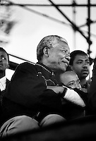 DURBAN, SOUTH AFRICA - APRIL 13: Nelson Mandela waits to hold a speech on April 13, 1994 in Durban, South Africa. The pre-election rally was just weeks before the historic democratic election on April 27, 1994 that Mr. Mandela won. Mr. Mandela became the first black democratic elected president in South Africa. He retired from office after one term in June 1999. (Photo by Per-Anders Pettersson)<br /> )