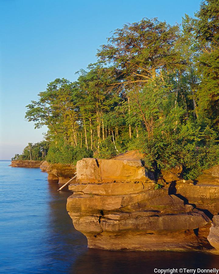 Big Bay State Park, WI: Sunrise light on Lake Superior and Big Bay Point, Madeline Island Apostle Islands