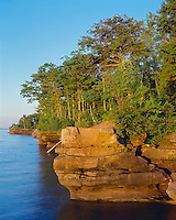 Big Bay State Park, WI: Sunrise light on Lake Superior and Big Bay Point, Madeline Island Apostle Islands