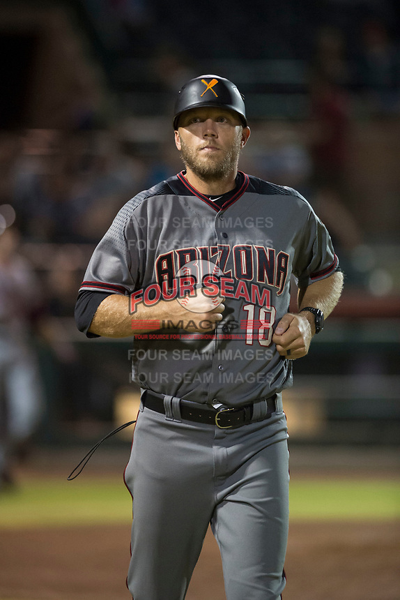 Salt River Rafters hitting coach Shelley Duncan (18), of the Arizona Diamondbacks organization, during an Arizona Fall League game against the Scottsdale Scorpions at Scottsdale Stadium on October 12, 2018 in Scottsdale, Arizona. Scottsdale defeated Salt River 6-2. (Zachary Lucy/Four Seam Images)