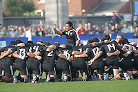 New Zealand begin their Haka before the Division A U19 World Chanpionship match against England at Ravenhill, Belfast.