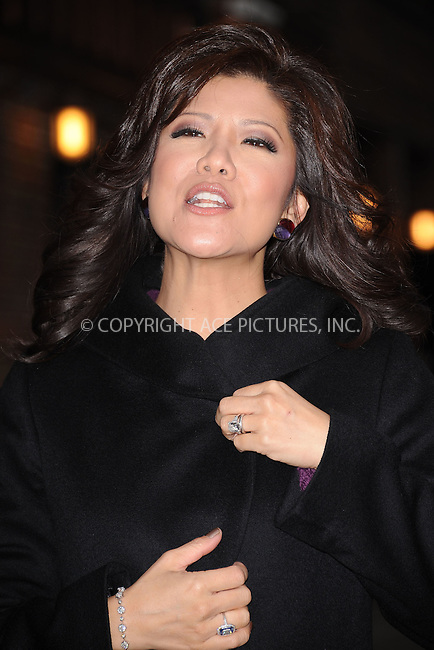 WWW.ACEPIXS.COM . . . . . .December 12, 2011...New York City....Julie Chen arrives to tape an appearance on the Late Show with David Letterman on December 12, 2011 in New York City....Please byline: KRISTIN CALLAHAN - ACEPIXS.COM.. . . . . . ..Ace Pictures, Inc: ..tel: (212) 243 8787 or (646) 769 0430..e-mail: info@acepixs.com..web: http://www.acepixs.com .