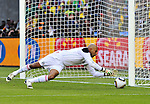 11 June 2010,Mexican goalkeeper Oscar Perez makes a save in the opening World Cup game between South Africa and Mexico at the Soccer City stadium in Johannesburg. The game ended in a one all draw. Picture: Shayne Robinson