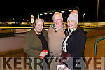 At the Kingdom Greyhound Stadium on Tuesday were Phyllis Daly, Timmy Murphy and Margaret O'Mara