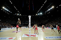 15.09.2018 Silver Ferns in action during Silver Ferns v England netball test match at Spark Arena in Auckland. Mandatory Photo Credit ©Michael Bradley.