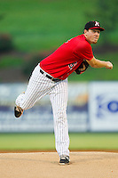 Kannapolis Intimidators starting pitcher Kyle Hansen (51) in action against the West Virginia Power at CMC-Northeast Stadium on July 10, 2013 in Kannapolis, North Carolina.  The Power defeated the Intimidators 4-0.   (Brian Westerholt/Four Seam Images)