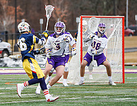University at Albany Men's Lacrosse defeats Drexel 18-5 on Feb. 24 at Casey Stadium.  Drexel attack Max Spaan (#46) shoots on the UAlbany goal (Photo by Bruce Dudek / Cal Sport Media/Eclipse Sportswire)