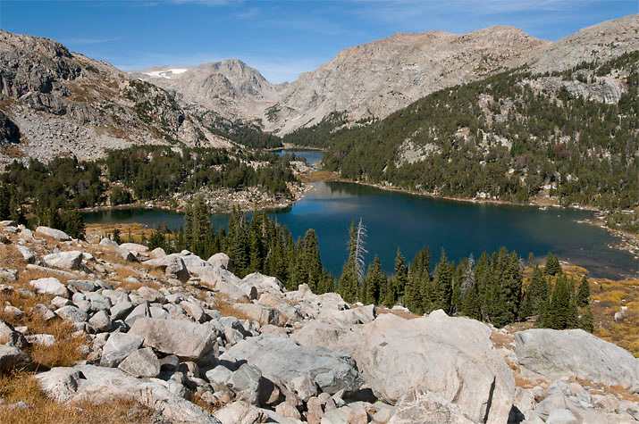 A view of the Golden Lakes from near Hay Pass in the Wind River Range, WY.