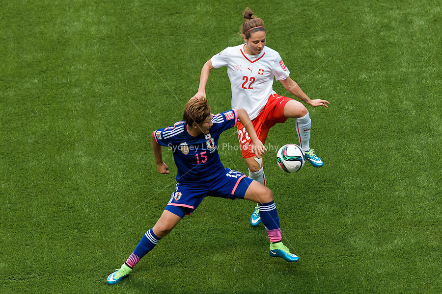 June 8, 2015: Vanessa BERNAUER of Switzerland controls the ball during a Group C match at the FIFA Women's World Cup Canada 2015 between Japan and Switzerland at BC Place Stadium on 8 June 2015 in Vancouver, Canada. Sydney Low/AsteriskImages