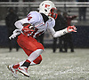 Terrance Edmond #14 of Freeport changes direction as he looks to get downfield during the Nassau County Conference I varsity football final against Oceanside at Hofstra University on Saturday, Nov. 18, 2017. Oceanside won by a score of 17-0.