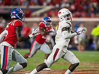 NWA Democrat-Gazette/BEN GOFF @NWABENGOFF<br /> Kamren Curl, Arkansas strong safety, runs for a touchdown after stripping the ball in the fourth quarter vs Ole Miss Saturday, Sept. 7, 2019, at Vaught-Hemingway Stadium in Oxford, Miss.