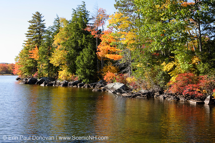 Wellington State Park - Newfound Lake in Bristol, New Hampshire USA during the autumn months..