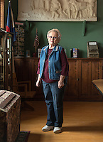 Carla Wyeno, the caretaker of the Crowley Heritage Center in Crowley, Colorado, Wednesday, May 18, 2016. Wyeno and her husband Harry, sold their water rights in 1976 to pay for their childrens college education. As a result, they no longer farmed on land that had been in their family for generations. Crowley County, once a thriving agricultural community with over 50,000 acres of farm land no only farms on 5,000 acres of land after selling most of the water rights for municipal use in Aurora, Colorado.<br /> <br /> Photo by Matt Nager