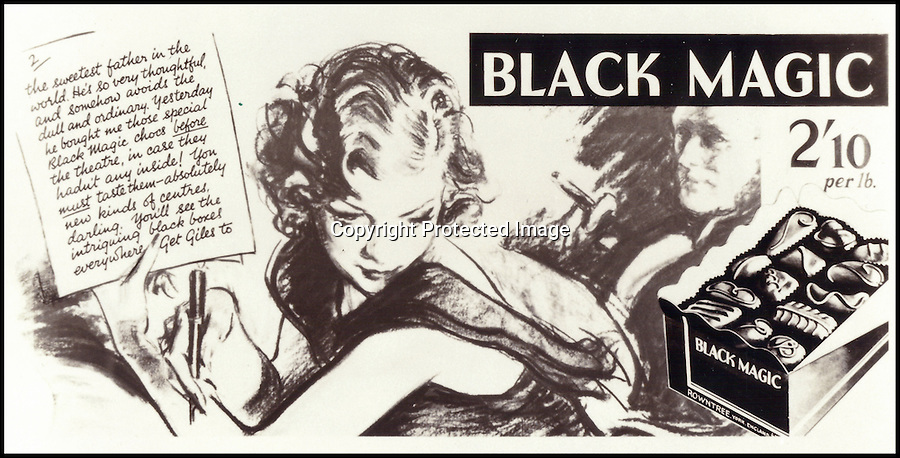 BNPS.co.uk (01202 558833)<br /> Pic: Nestle/BNPS<br /> <br /> A Black Magic advert from 1934 featuring a letter which became part of the famous branding<br /> <br /> Chocolate for the masses!<br /> <br /> A fascinating archive of vintage adverts has emerged and revealed how the humble Black Magic chocolates were the first box that was affordable for all.<br /> <br /> When the famous dark chocolates were launched by Rowntree's in 1933 the company was on the brink of bankruptcy and was desperately trying to save itself from going bust.<br /> <br /> Until then, Rowntree's only sold incredibly fancy boxes of the treats which were in hand decorated cases and cost up to £300 each in today's money.<br /> <br /> When Black Magic hit the shops at just five pounds for the largest box customers were shocked that they were able to buy luxurious chocolates for the first time.<br /> <br /> The enormous success of the budget brand saw people's views of chocolate change from one of extreme wealth and importance to an every day treat for all classes.<br /> <br /> Black Magic grew to become one of the most popular products Rowntree's sold and managed to save 151-year-old business from closing down.<br /> <br /> The success of the now internationally famed box is illustrated in a collection of images that have been released to celebrate its 80 year anniversary.<br /> <br /> Before the delicious treat was invented a box of chocolates would cost 100 shillings, which was the equivalent of 10 weeks worth of rent for a factory worker.