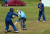 Cricket Scotland - the Citylets Scottish Cup Final between Carlton CC V Heriots CC at Meikleriggs, Paisley (Ferguslie CC) - Heriots Elnathan Meiri stumps Carlton's Fraser Burnett, given - picture by Donald MacLeod - 25.08.19 - 07702 319 738 - clanmacleod@btinternet.com - www.donald-macleod.com