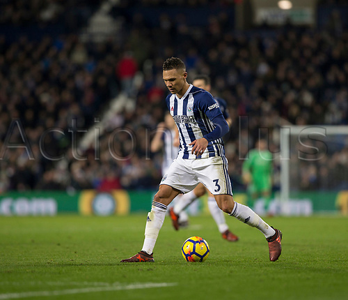 28th November 2017, The Hawthorns, West Bromwich, England; EPL Premier League football, West Bromwich Albion versus Newcastle United; Kieran Gibbs of West Bromwich Albion on the ball