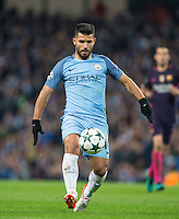 Sergio Aguero of Manchester City during the UEFA Champions League match between Manchester City and Barcelona at the Etihad Stadium, Manchester, England on 1 November 2016. Photo by Andy Rowland / PRiME Media Images.