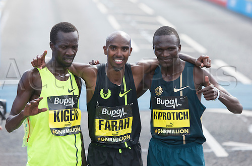 07.09.2014.  South Shields, England.  BUPA Great North Run. The top three men in the Great North Run. From left to right. Mike Kigen, Mo Farah and Stephen Kiprotich