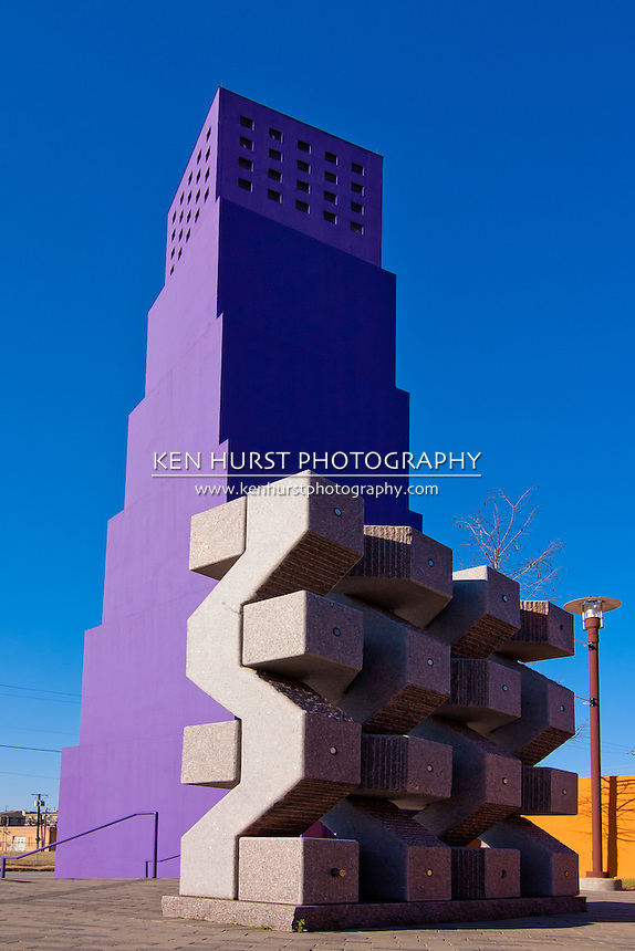 Colorful and distinctive architecture of the Latino Cultural Center in Dallas, Texas built in 2003 and designed by architect Ricardo Legorreta.