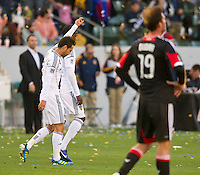 CARSON, CA - March 18,2012: LA Galaxy midfielder Marcelo Sarvas (8) celebrates his goal during the LA Galaxy vs DC United match at the Home Depot Center in Carson, California. Final score LA Galaxy 3, DC United 1.