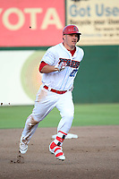 Mike Trout (27) of the Los Angeles Angels runs the bases during a rehab game for the Inland Empire 66ers against the Rancho Cucamonga Quakes at San Manuel Stadium on July 9, 2017 in San Bernardino, California. Inland Empire defeated Rancho Cucamonga 12-2. (Larry Goren/Four Seam Images)