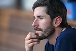 Reno Aces' Brandon McCarthy watches from the dugout during a Triple-A baseball game against the Las Vegas 51s in Reno, Nev., on Sunday, July 21, 2013. The 51s won 15-8.<br /> Photo by Cathleen Allison