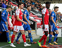 Fleetwood players emerge from the tunel <br /> <br /> Photographer Andrew Kearns/CameraSport<br /> <br /> The Carabao Cup First Round - Fleetwood Town v Carlisle United Kingdom - Tuesday 8th August 2017 - Highbury Stadium - Fleetwood<br />  <br /> World Copyright &copy; 2017 CameraSport. All rights reserved. 43 Linden Ave. Countesthorpe. Leicester. England. LE8 5PG - Tel: +44 (0) 116 277 4147 - admin@camerasport.com - www.camerasport.com