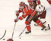 Mel Desrochers (SLU - 18), Meagan Mangene (BC - 24) - The Boston College Eagles defeated the visiting St. Lawrence University Saints 6-3 (EN) in their NCAA Quarterfinal match on Saturday, March 10, 2012, at Kelley Rink in Conte Forum in Chestnut Hill, Massachusetts.