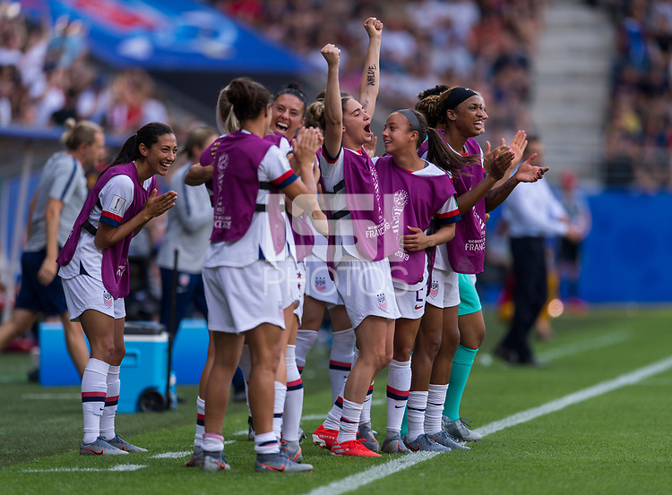 REIMS,  - JUNE 24: Morgan Brian #6 and the USWNT celebrate during a game between NT v Spain and  at Stade Auguste Delaune on June 24, 2019 in Reims, France.