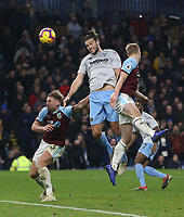 West Ham United's Andy Carroll with a header towards goal<br /> <br /> Photographer Rob Newell/CameraSport<br /> <br /> The Premier League - Burnley v West Ham United - Sunday 30th December 2018 - Turf Moor - Burnley<br /> <br /> World Copyright © 2018 CameraSport. All rights reserved. 43 Linden Ave. Countesthorpe. Leicester. England. LE8 5PG - Tel: +44 (0) 116 277 4147 - admin@camerasport.com - www.camerasport.com