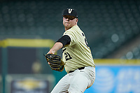 Vanderbilt Commodores relief pitcher Tyler Brown (21) in action against the Houston Cougars during game nine of the 2018 Shriners Hospitals for Children College Classic at Minute Maid Park on March 3, 2018 in Houston, Texas. The Commodores defeated the Cougars 9-4. (Brian Westerholt/Four Seam Images)