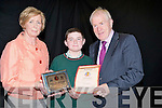 HONOR: It was an honor for Bryan Murphy student Causeway comprehensive Sec Schoolon Thurdsday as Jimmy Denihamn and principal Lucille OOSullivan presented him wi8th the arts awards at a ceremony at the school on Thurdsday night.