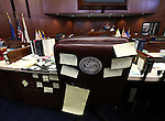 A collection of stickie notes remain after Nevada Sen. Ben Kieckhefer's kids sit through a floor session at the Legislative Building in Carson City, Nev., on Monday, May 27, 2013. <br /> Photo by Cathleen Allison