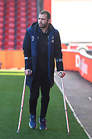 a3` arrives at the ground on crutches due to a groin injury during AFC Bournemouth vs Wolverhampton Wanderers, Premier League Football at the Vitality Stadium on 23rd February 2019
