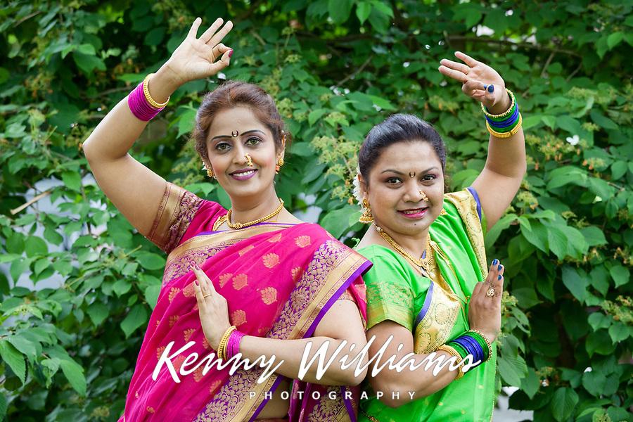 Two Women Indian Folk Dancers, NW Folklife Festival, Seattle, WA, USA.